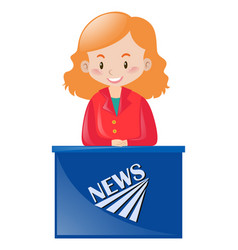 female news reporter at desk vector image vector image