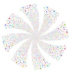 Floppy disk fireworks swirl flower vector