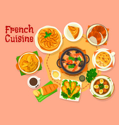 French cuisine popular national dishes icon design vector