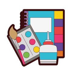 Full color notebook and watercolor with pain brush vector