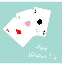 Happy Valentines Day Poker playing card vector image vector image