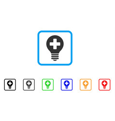 Healh care bulb framed icon vector