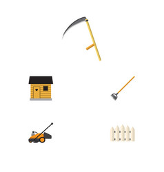icon flat dacha set of lawn mower cutter wooden vector image vector image