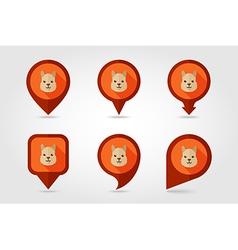 Lama flat pin map icon animal head symbol vector