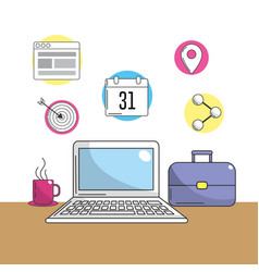 Laptop with company tools to information vector