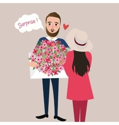 man give girl flower bouquet surprise vector image