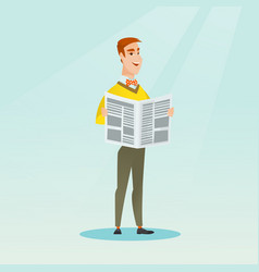 Man reading a newspaper vector