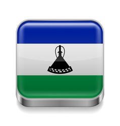 Metal icon of lesotho vector