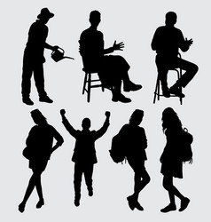 People activity silhouette vector