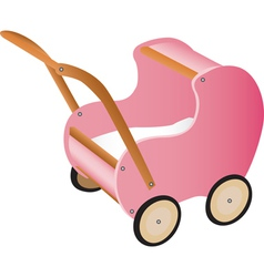 Pink wooden toy pram vector image