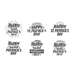 saint patricks day lettering label set vector image
