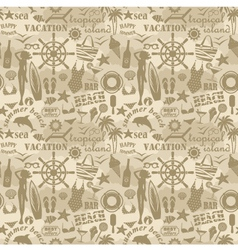 Seamless beach pattern vector image vector image