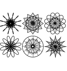 Set of spirograph circular shapes vector image vector image
