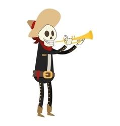 Skeleton mariachi icon vector