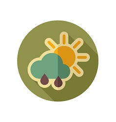 Sun rain cloud retro flat icon weather vector