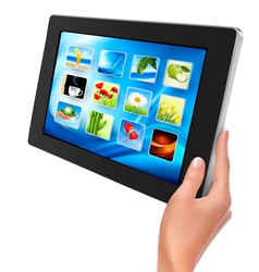 Tablet pc with icons and hand vector image vector image