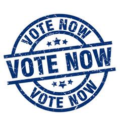 vote now blue round grunge stamp vector image vector image