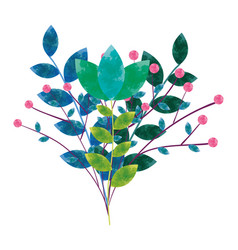 Watercolor flower with branches leaves image vector