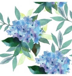 Watercolor pattern of hydrangea flowers vector