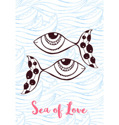 Zentangle greeting card with cute fishes sea of vector