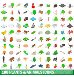 100 plants and animals icons set isometric style vector