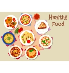 Healthy food with dessert for lunch icon vector