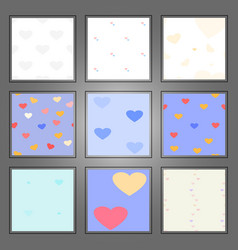 set of heart patterns vector image