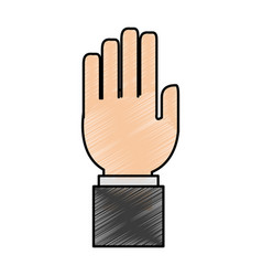 color pencil image front view hand with side vector image