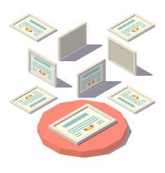 Isometric low poly diploma vector