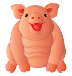 cartoon fat cheeful pig vector image