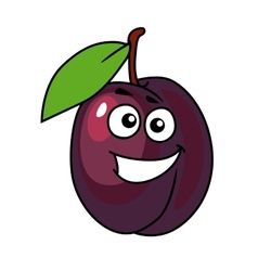 Cartoon plum with a happy smile vector