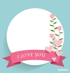 Note paper with ribbon heart and floral bouquets vector
