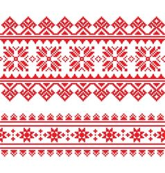 Traditional folk knitted red embroidery pattern vector image