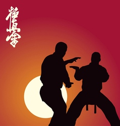 Two men are engaged in karate against the sun vector