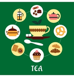 Tea flat infographic with dessert icons vector