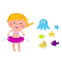 Swimmer girl  ocean icons vector