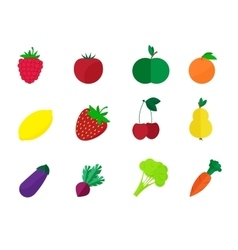 Fruits and vegetables isolated on a white vector