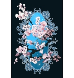 Card with blossom sakura vector