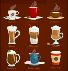 Different types of coffee espressoamericano vector