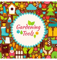 Flat gardening tools brown poster postcard vector