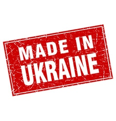 Ukraine red square grunge made in stamp vector