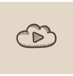 Cloud with play button sketch icon vector