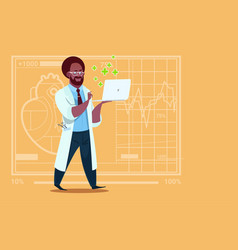 African american doctor hold laptop computer vector