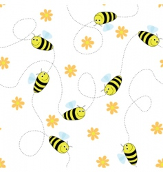 Bees and flowers vector