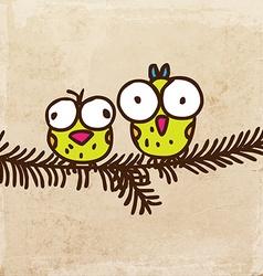 Birds on a Branch Cartoon vector image vector image