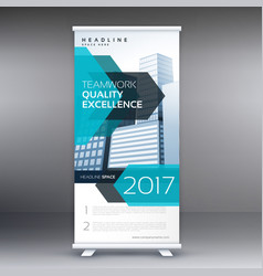 Blue business roll up banner standee template vector