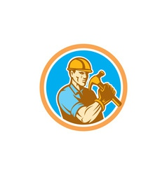 Builder Carpenter Holding Hammer Circle Retro vector image vector image