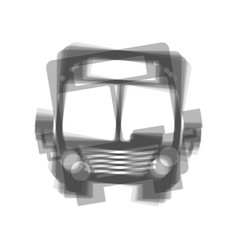 Bus sign gray icon shaked at vector