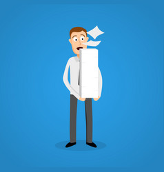 Business man and paper ream a lot of work vector