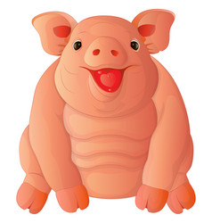 cartoon fat cheeful pig vector image vector image